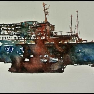 Barco 3 Acuarela sobre papel 35x70cm