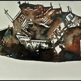 Barco 1 Acuarela sobre papel 35x70cm