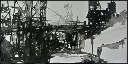 Paisaje industrial 2 Tinta china sobre papel 35x70cm